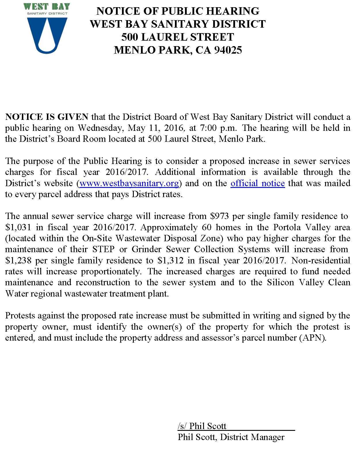 SSC Notice Rate Change public hearing approved